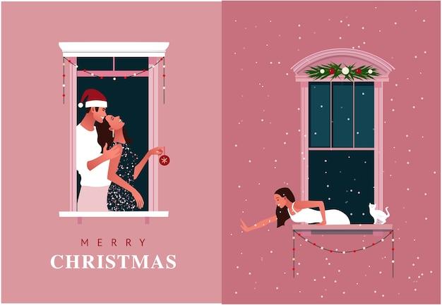 Nieuwjaar of kerstviering. lockdown. leven in quarantaine plaatsen. raamkozijnen met feestende buren. sneeuw. kleurrijke illustratie in moderne vlakke stijl. Premium Vector