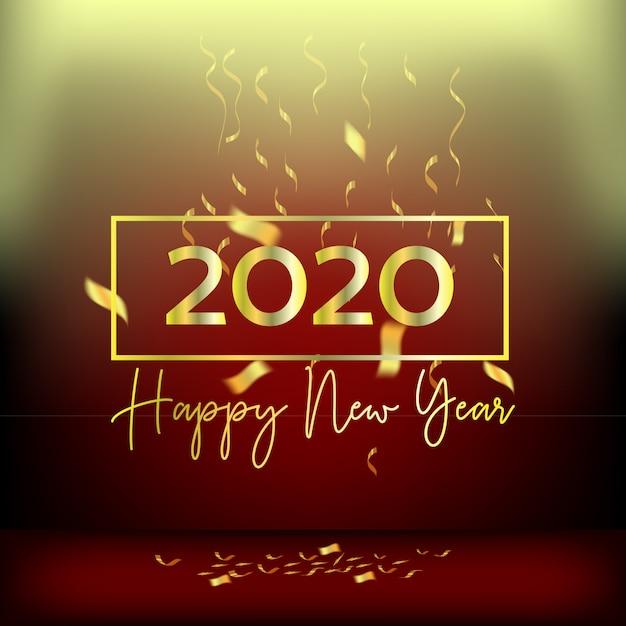 Nieuwjaar ontwerp rode gordijnen en linten goud Premium Vector