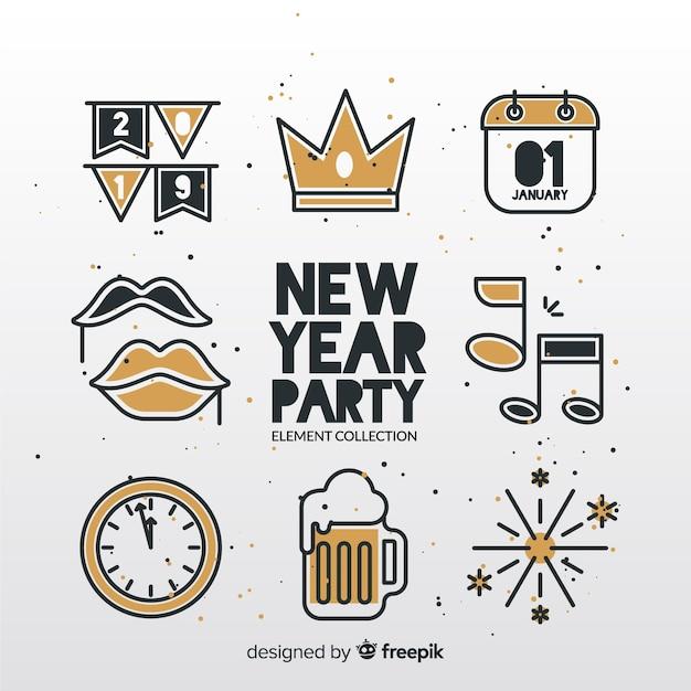 Nieuwjaar partij elementen collectie Gratis Vector