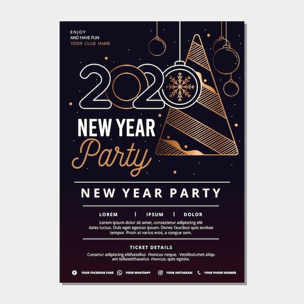 Nieuwjaar partij poster sjabloon in kaderstijl Gratis Vector
