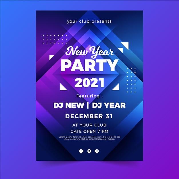 Nieuwjaar partij poster sjabloon Premium Vector