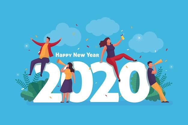 Nieuwjaar platte achtergrond Gratis Vector