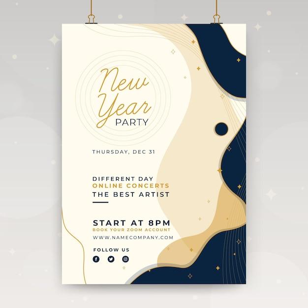 Nieuwjaar poster sjabloon Gratis Vector