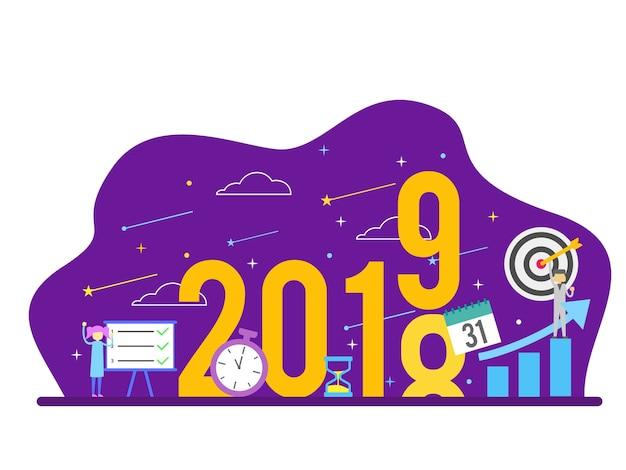 Nieuwjaar succes doel resolutie mensen concept Premium Vector