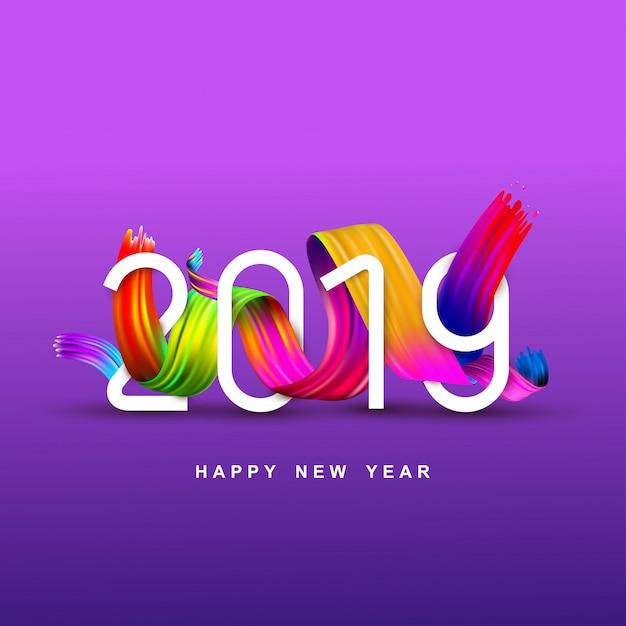 Nieuwjaar van een kleurrijke borstel Premium Vector