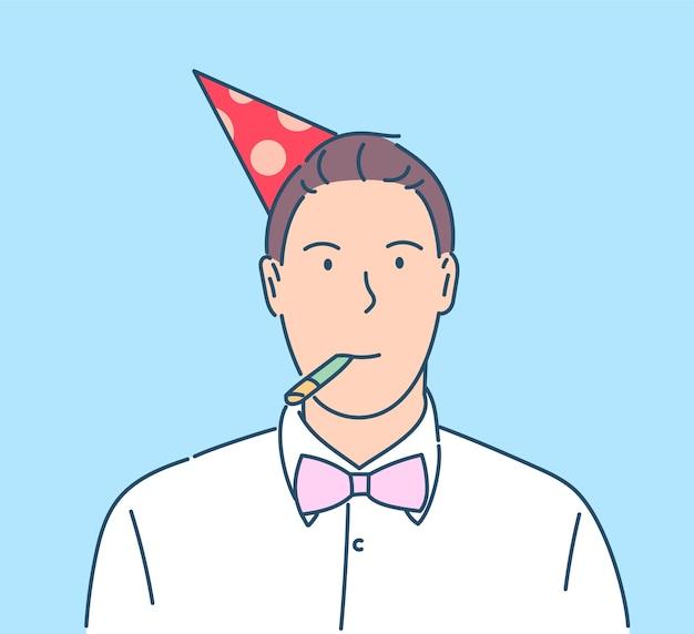 Nieuwjaar viering concept. gelukkig lachend oudejaarsavond vieren man met hoed op feestje. Premium Vector
