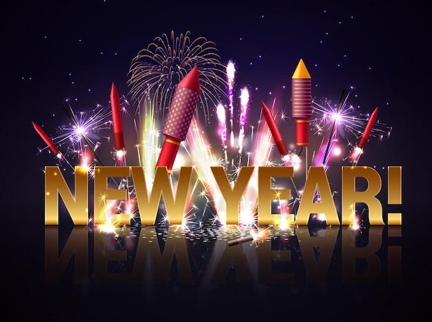 Nieuwjaar vuurwerk illustratie Gratis Vector
