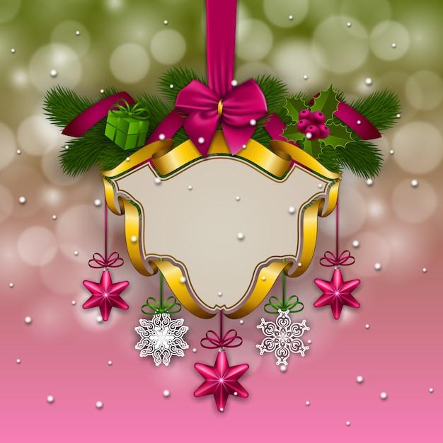 Nieuwjaars achtergrond - een slinger van dennentakken, ballen, bessen Premium Vector