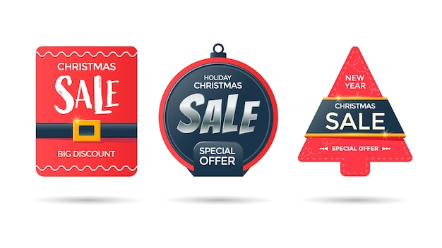 Nieuwjaars papieren verkoop tags. kerstboom en bal rode promotionele etiketten Premium Vector