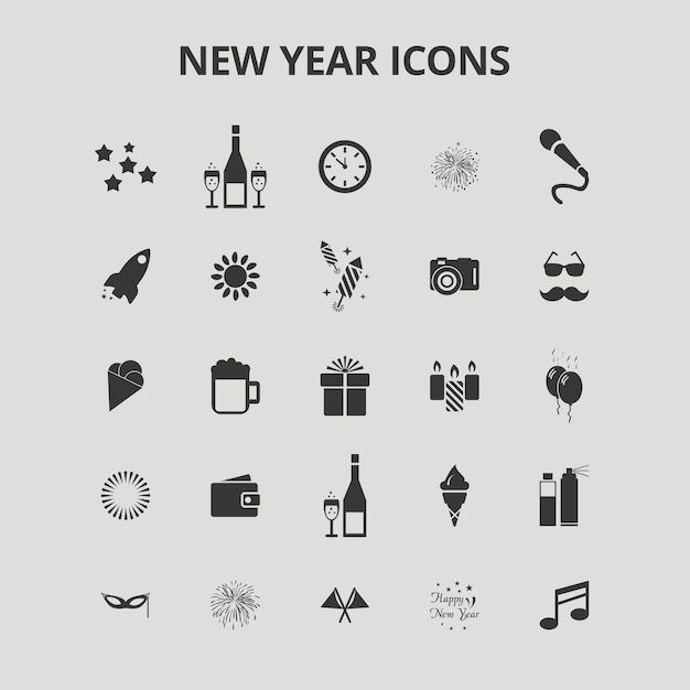 Nieuwjaars pictogrammen Gratis Vector