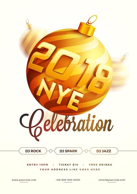 Nieuwjaarsavond 2018 partij poster, banner of flyer design. Premium Vector