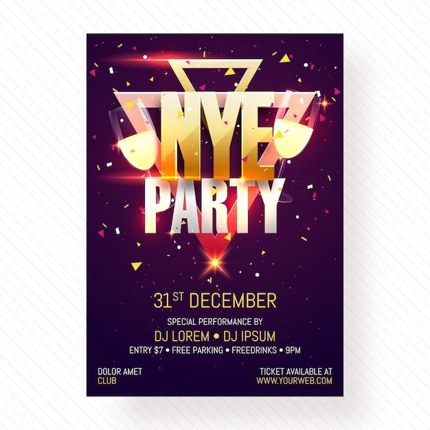 Nieuwjaarsavond partij poster, banner of flyer design. Premium Vector