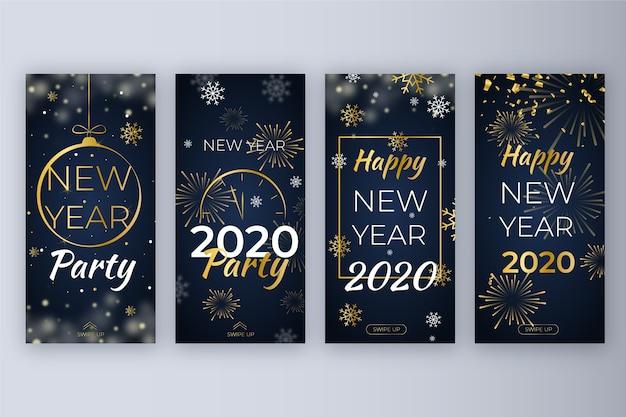 Nieuwjaarset instagram-verhaalset Gratis Vector
