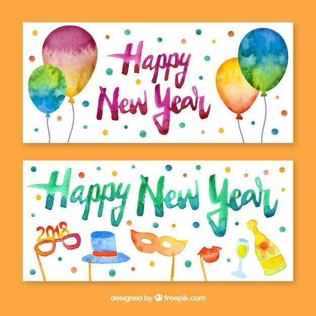 Nieuwjaarsfeest banners Gratis Vector