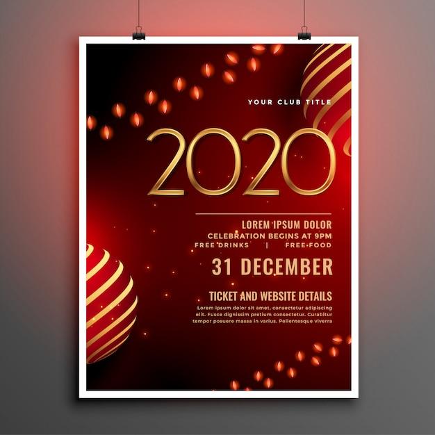 Nieuwjaarsfeest flyer of poster sjabloon voor het jaar 2020 Gratis Vector