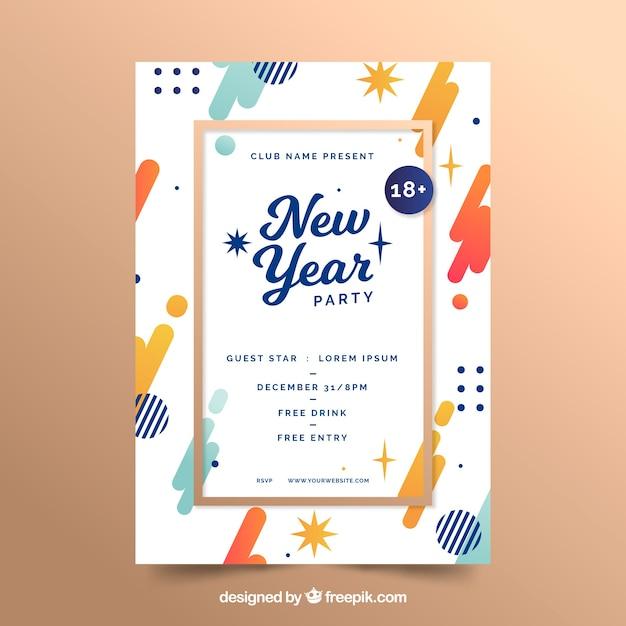 Nieuwjaarsfeest poster Gratis Vector