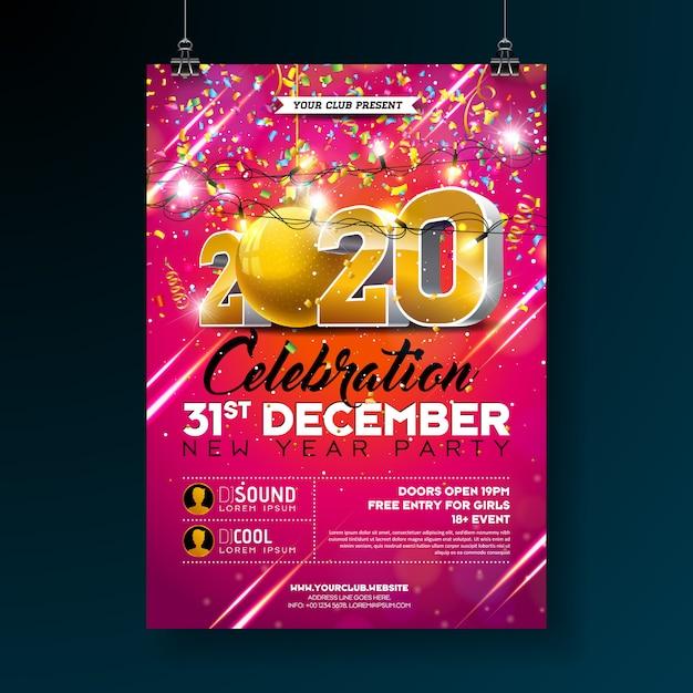Nieuwjaarsfeest viering poster sjabloon illustratie met 3d 2020 nummer en vallende kleurrijke confetti op rode achtergrond Gratis Vector