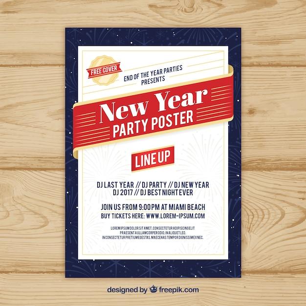 Nieuwjaarsfeestaffiche in wit, rood en donkerblauw Gratis Vector