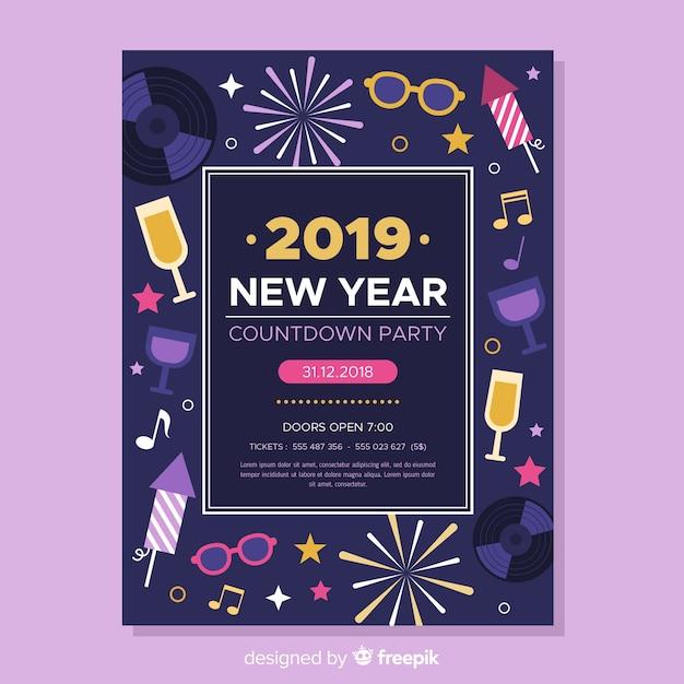 Nieuwjaarsfeestvlieger 2019 Gratis Vector