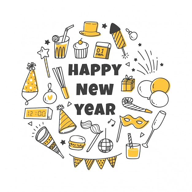 Nieuwjaarsgroet met schattige pictogrammen instellen Premium Vector