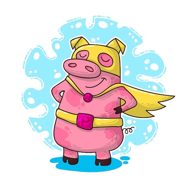 Nieuwjaarsillustratie met varken Premium Vector