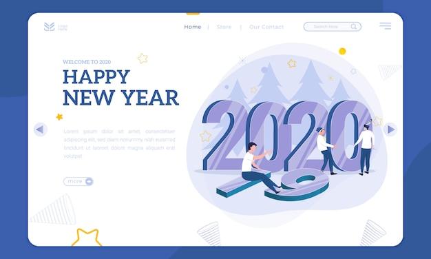 Nieuwjaarsillustratie op bestemmingspagina, zet het nummer 2020 in de plaats van 2019 Premium Vector
