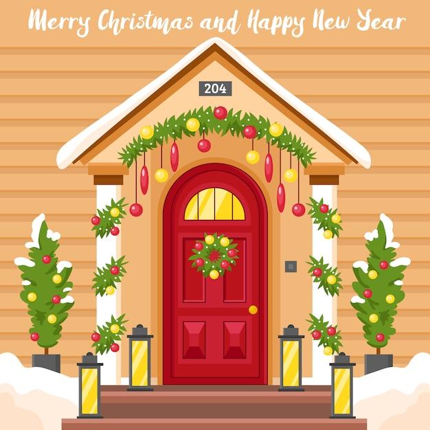 Nieuwjaarskaart met huis ingericht voor kerstmis Gratis Vector