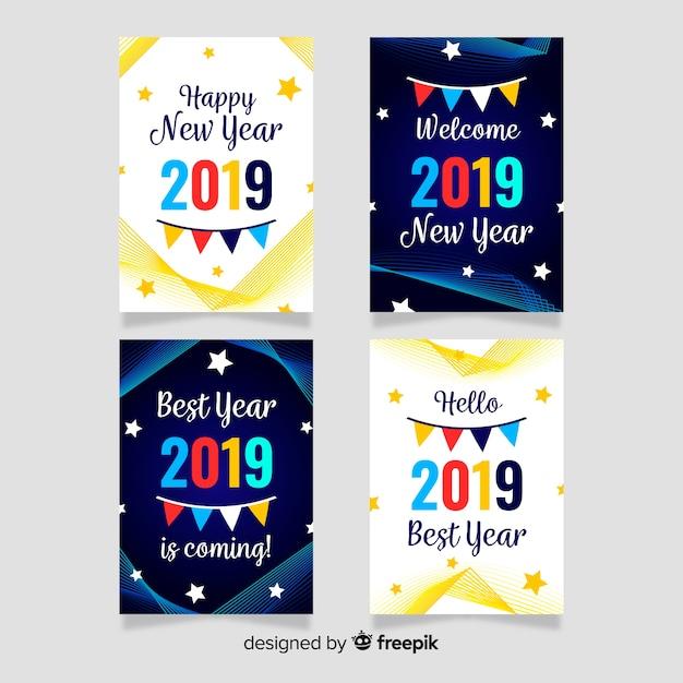Nieuwjaarskaart met kaartenpakket Gratis Vector