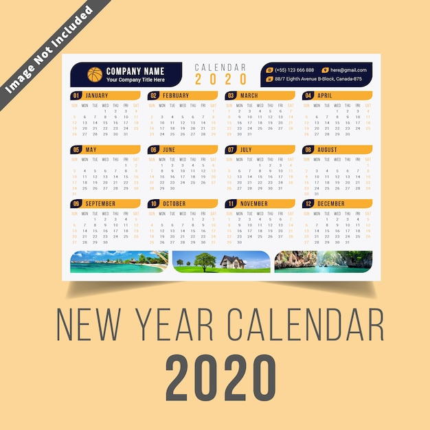 Nieuwjaarskalender 2020 Premium Vector