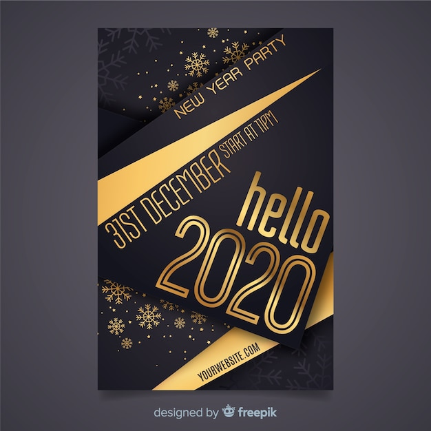 Nieuwjaarspartij in plat ontwerp Gratis Vector