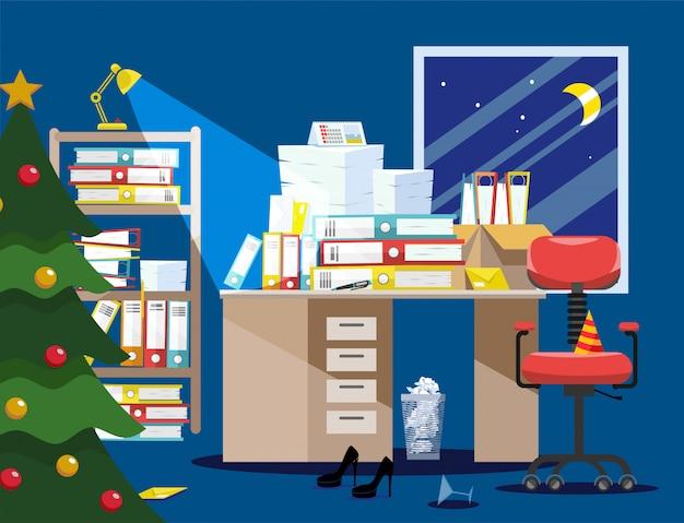 Nieuwjaarsperiode van accountants en financier rapporten indiening. stapel papieren documenten, bestandsmappen in kartonnen dozen op tafel. Premium Vector