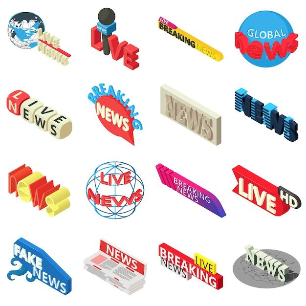 Nieuws live breaking label icons set. isometrische illustratie van 16 nieuws levende brekende etiket vectorpictogrammen voor web Premium Vector
