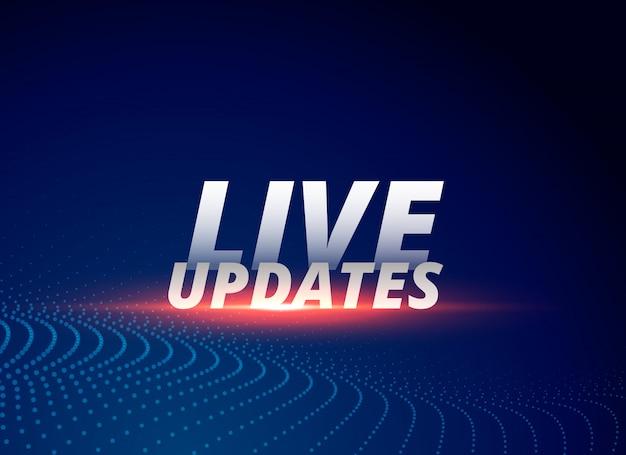 Nieuwsachtergrond met tekst live updates Gratis Vector