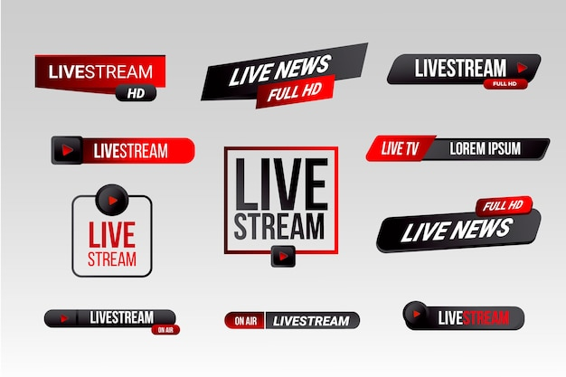 Nieuwsbanners stijl live stream Gratis Vector