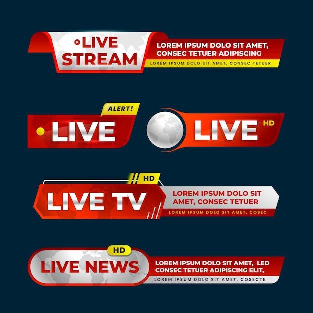 Nieuwsbanners voor live streams Gratis Vector