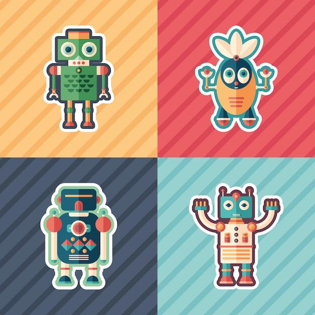 Nieuwsgierige robots stickers set Premium Vector
