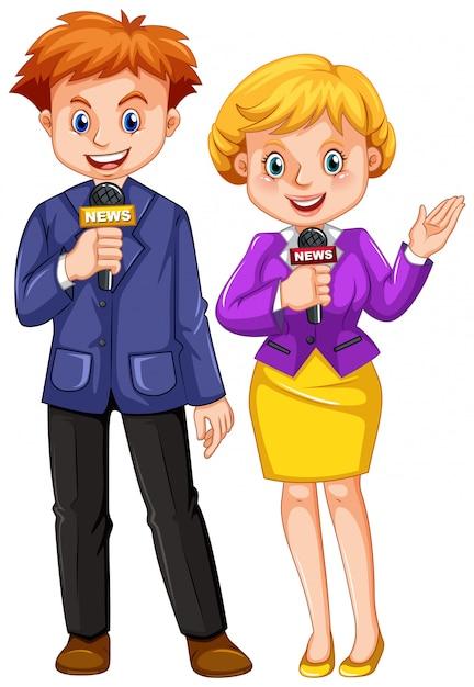 Nieuwsverslaggevers met microfoons Gratis Vector