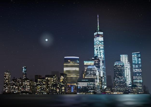 Night city skyline met gloeiende wolkenkrabbers Premium Vector
