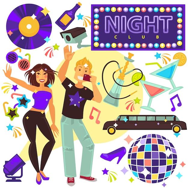 Night club life entertainment set met mensen Premium Vector