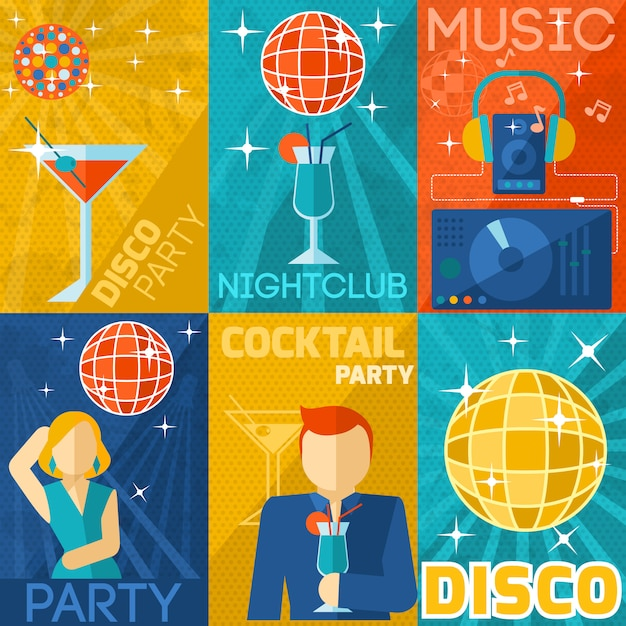 Night club poster set Gratis Vector