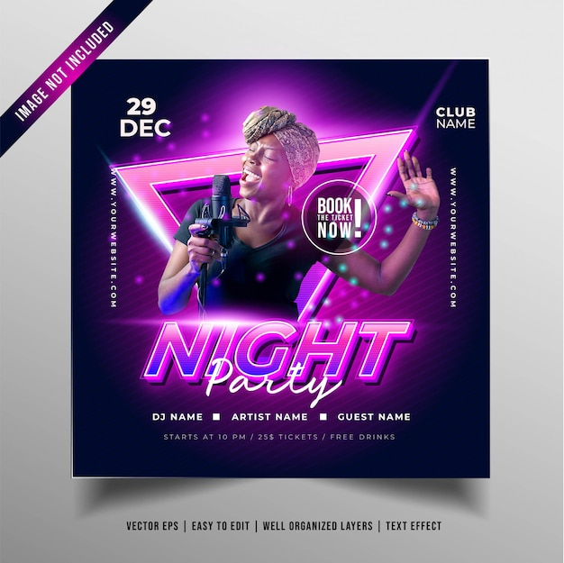 Night music party banner Gratis Vector