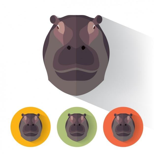 Nijlpaard ontwerpt collectie Gratis Vector