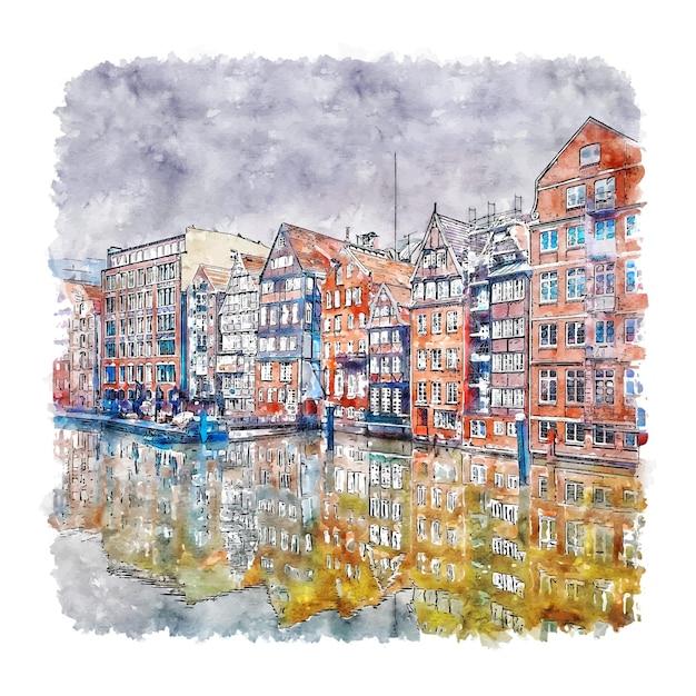 Nikolaifleet hamburg duitsland aquarel schets hand getrokken illustratie Premium Vector