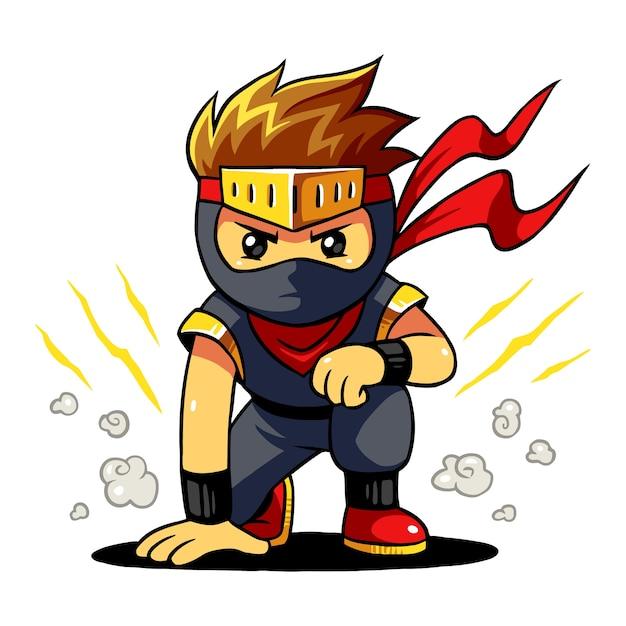 Ninja boy ready pose. Premium Vector