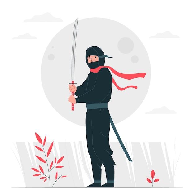 Ninja concept illustratie Gratis Vector