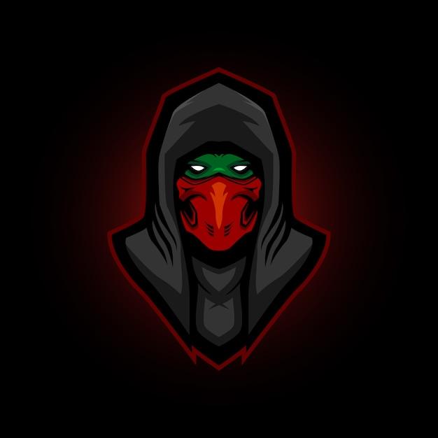 Ninja e sport logo gaming mascotte Premium Vector