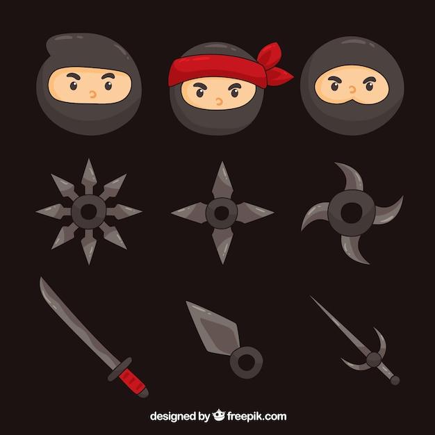 Ninja-elementencollectie met plat ontwerp Gratis Vector