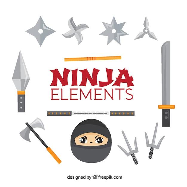 Ninja elementenverzameling Gratis Vector