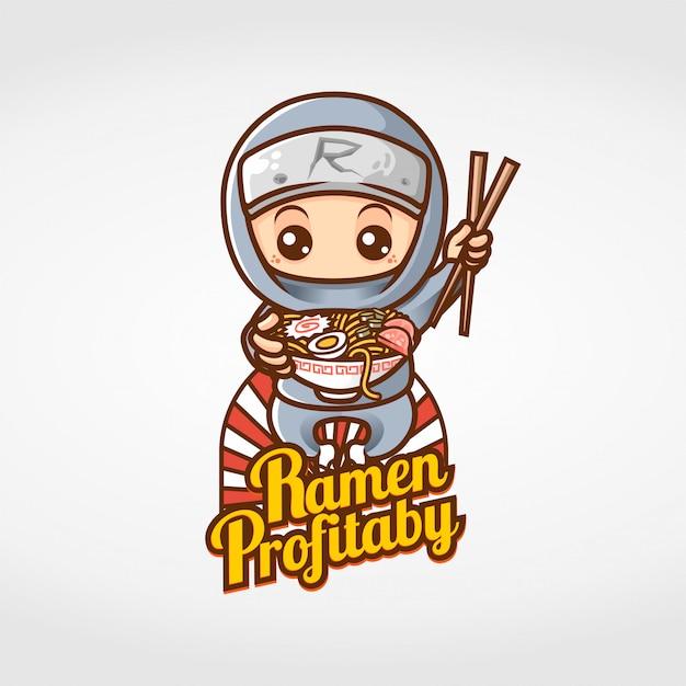 Ninja eten ramen mascotte karakter Premium Vector