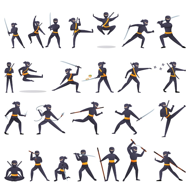 Ninja iconen set, cartoon stijl Premium Vector